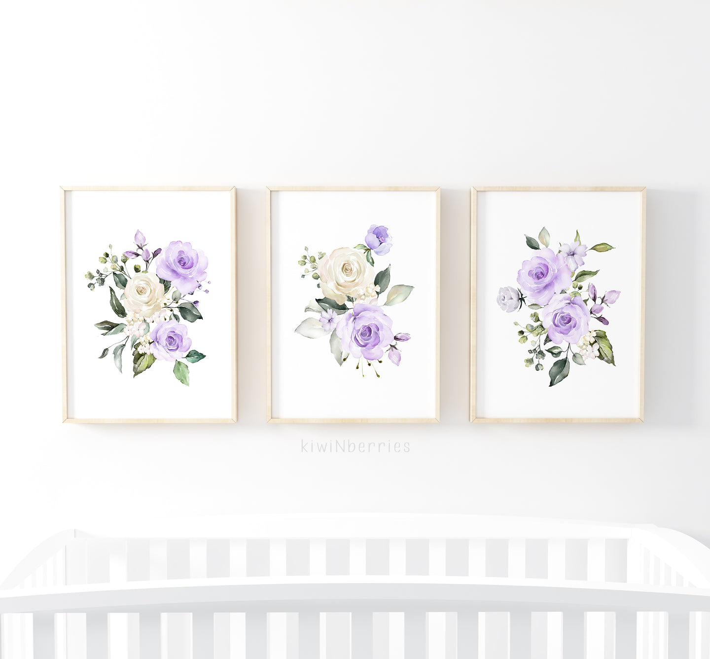 Lilac Purple Florals - set of 3