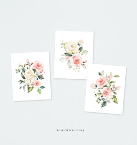 Blush Pink Florals - set of 3