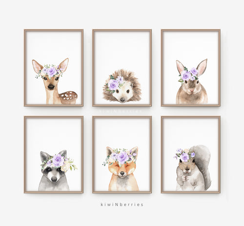 Woodland animals with Lilac Crown - set of 6