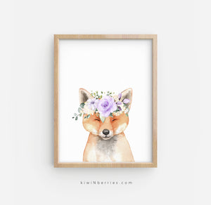 Fox with Lilac Flowers