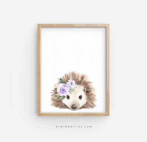 Hedgehog with Lilac Flowers