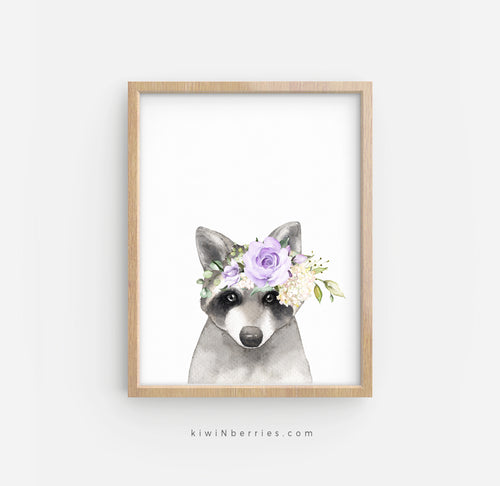 Raccoon with Lilac Flowers