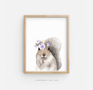Squirrel with Lilac Flowers