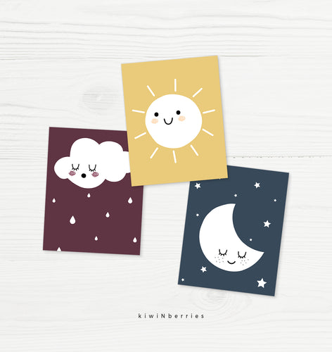 Sun · Moon · Cloud - set of 3
