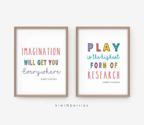 Playroom Einstein Quotes - set of 2