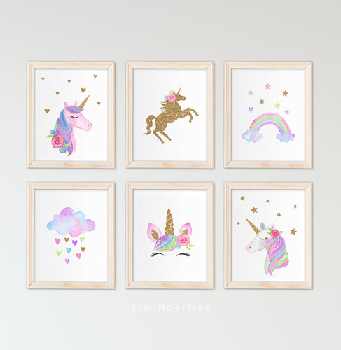 Unicorn watercolor - set of 6