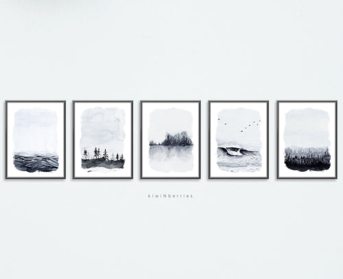 Landscape Watercolor - set of 5