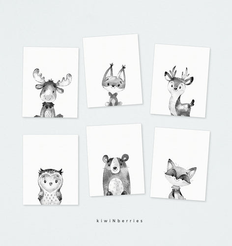 Monochrome Woodland Animals - set of 6