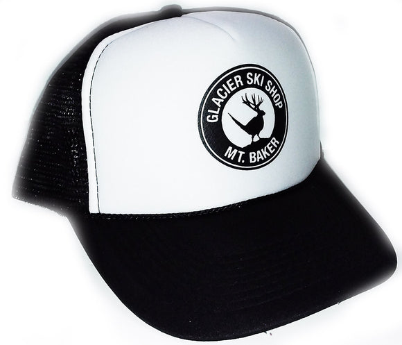 Glacier Ski Shop Jackalope Trucker Hat Black/White - glacier-ski-shop