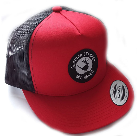 Glacier Ski Shop Jackalope Trucker Hat Red/Black Classic Snapback - glacier-ski-shop
