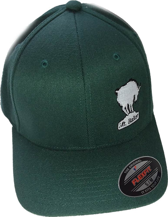 Glacier Ski Shop Signature Logo Flexfit Forest Green Baseball Cap - glacier-ski-shop