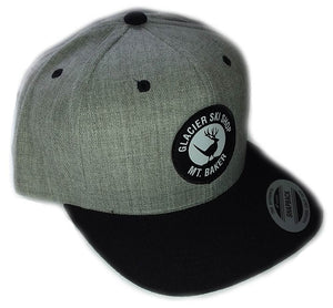 Glacier Ski Shop's Jackalope Heather Grey/Black Bill Wool Snapback Baseball Cap - glacier-ski-shop
