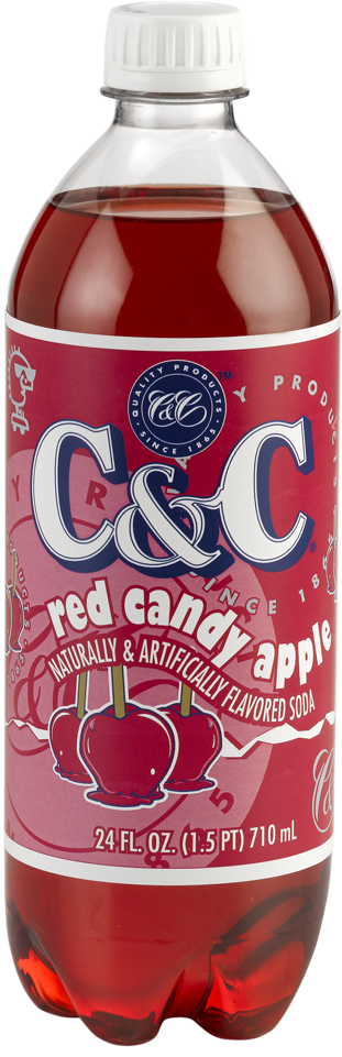 C&C Red Candy Apple Soda - Case of 24 Bottles