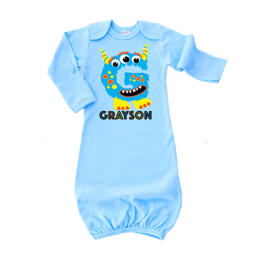 Cassidy\'s Closet: Personalized Monster Infant Gown | Blue