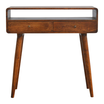 Curved Chestnut Console Table
