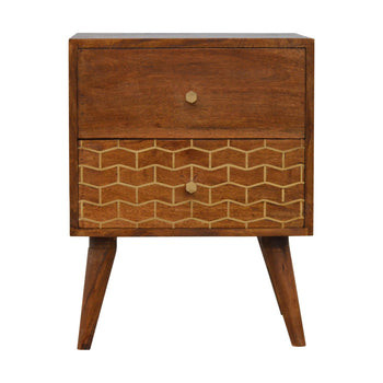Gold Art Pattern Bedside with 2 Drawers