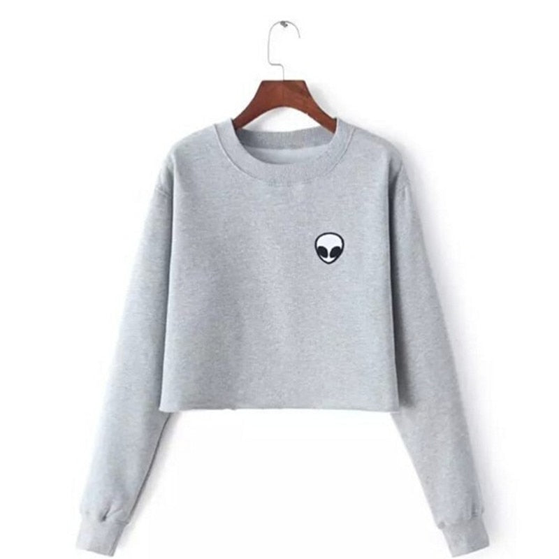 Alien Loose Short Fleece Long Sleeve Shirt