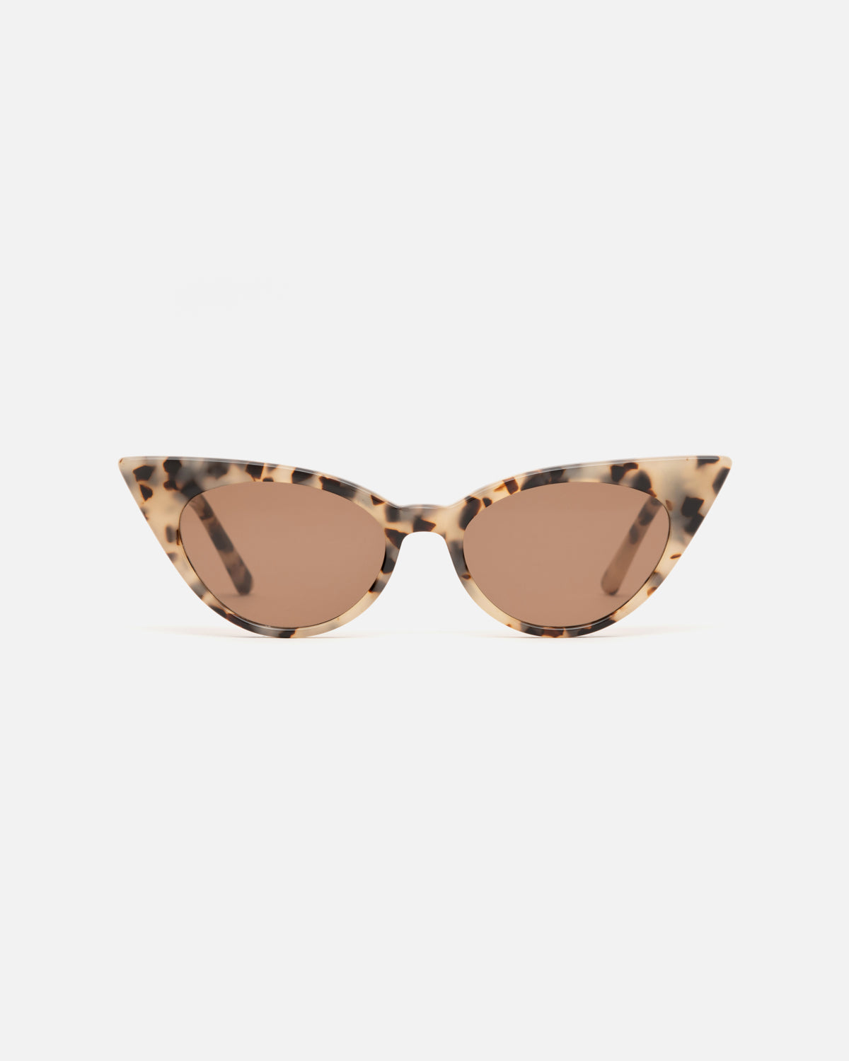 Lu Goldie Brigitte cat eye Sunglasses in choc tortoise shell acetate with brown lenses, front