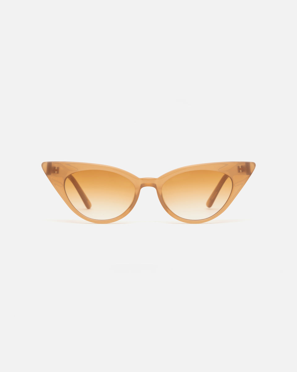Lu Goldie Brigitte cat eye Sunglasses in caramel beige acetate with caramel gradient lenses, front image