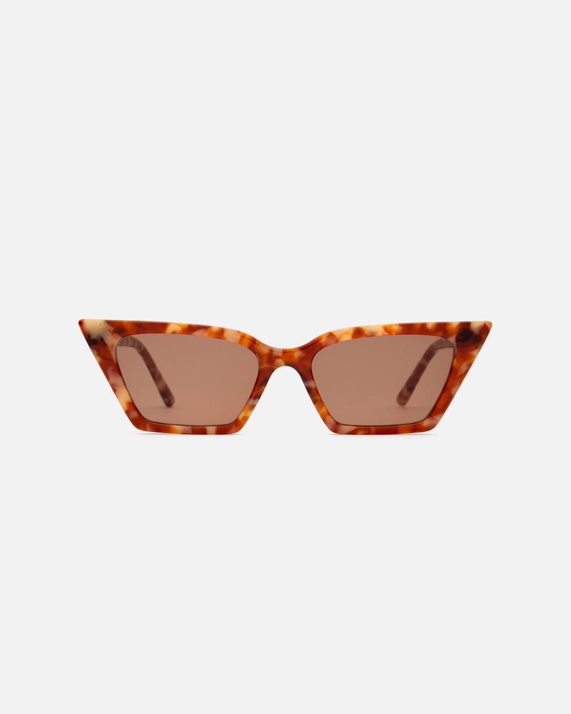 Lu Goldie sunglasses sunnies eyewear lunettes de soleil cat eye sharp angular small petite tortoise red orange amber brown lenses Lou Goldy