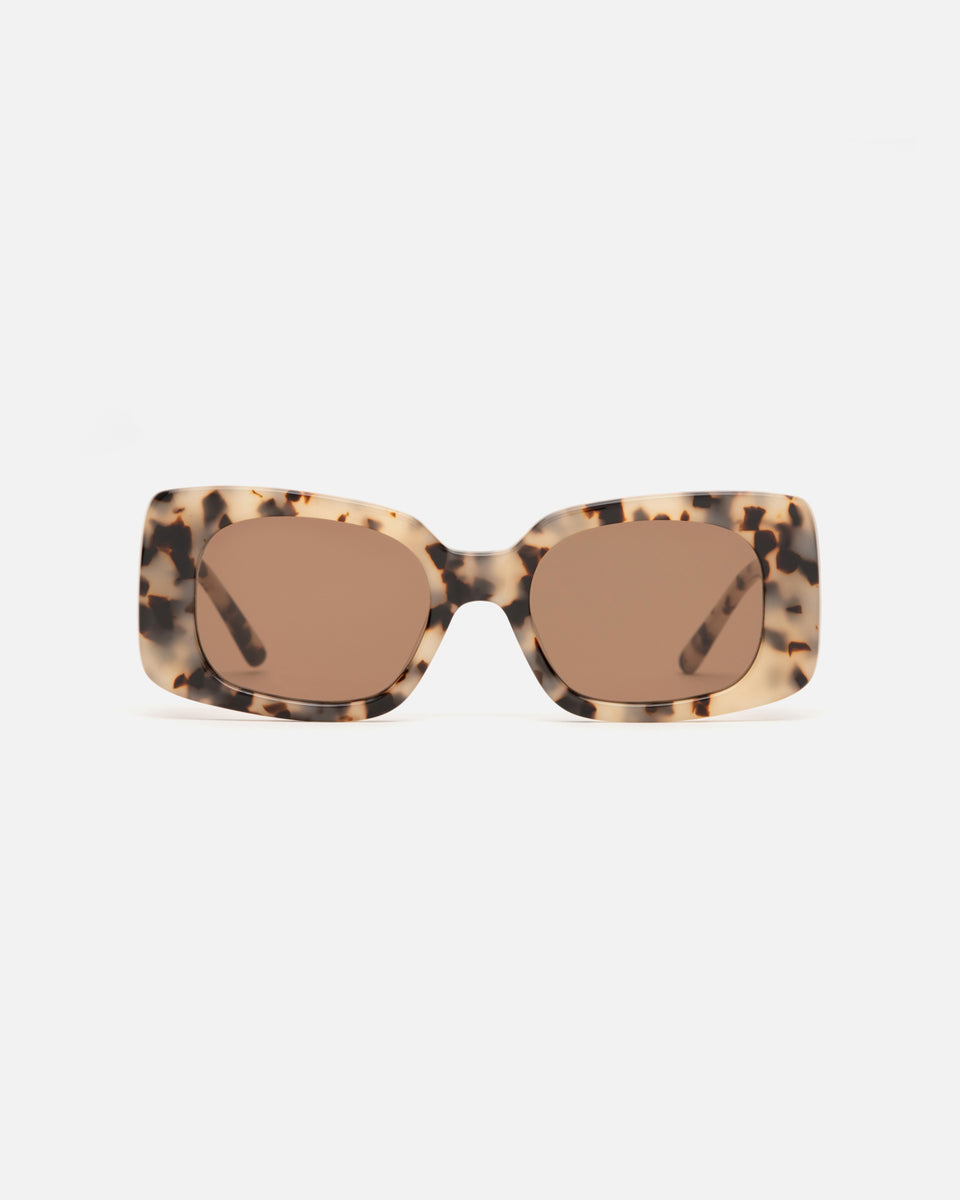 Lu Goldie Coco square Sunglasses in choc tortoise shell acetate with brown lenses, front