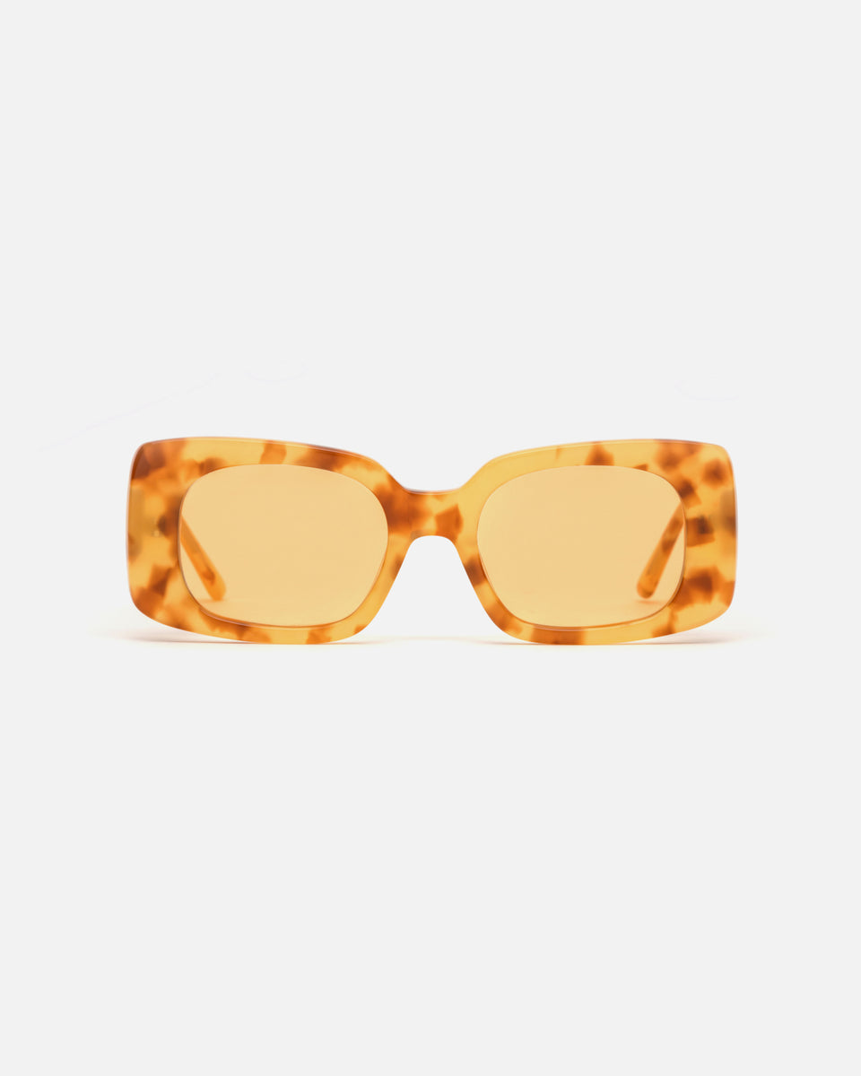 Lu Goldie Coco square Sunglasses in yellow tortoise shell acetate with yellow lenses, front