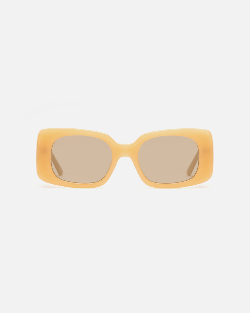Lu Goldie Sunglasses Square Rectangle Oversized 60s Retro Coco sunnies eyewear lunettes de soleil carrées lou goldy yellow mustard orange