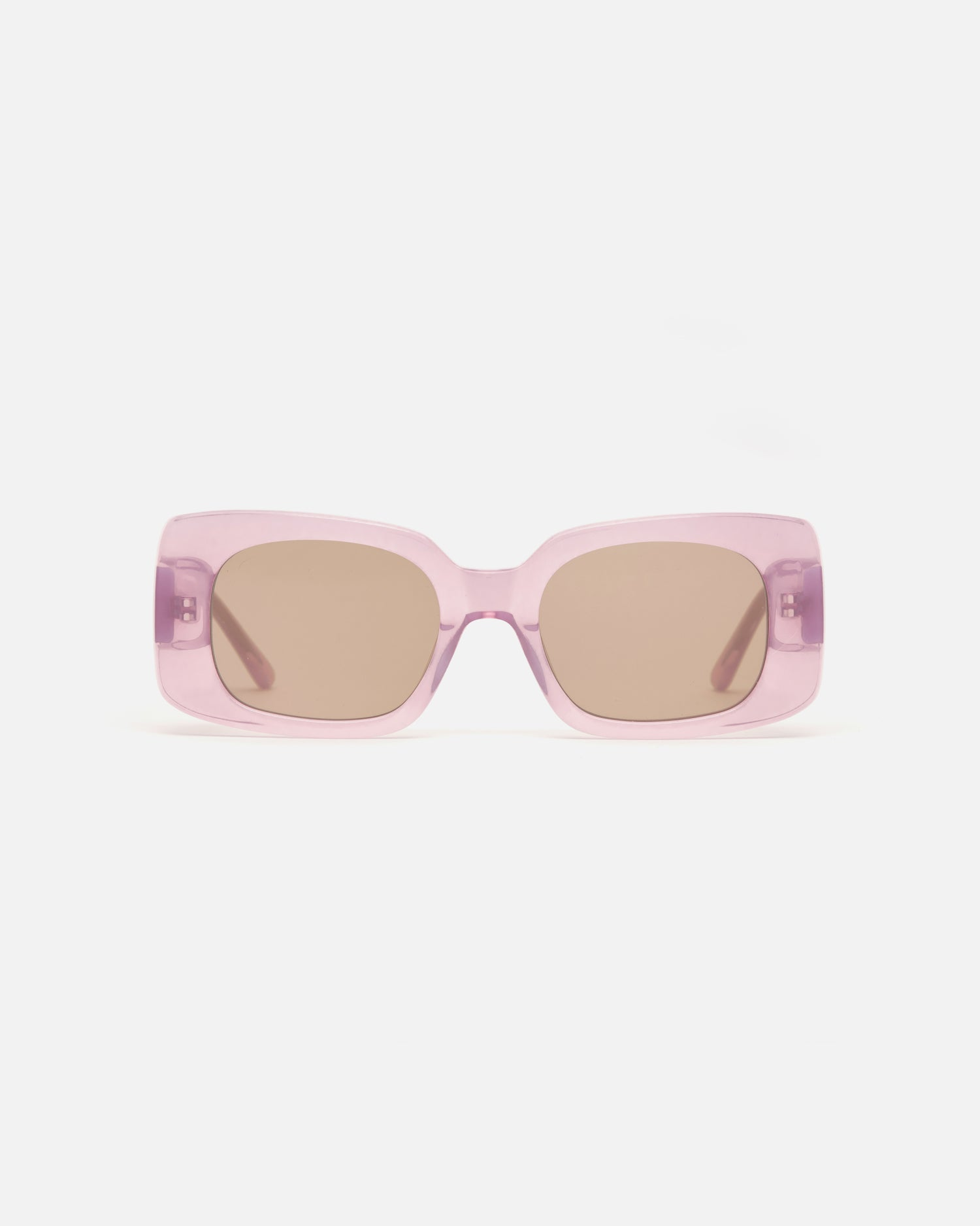 Lu Goldie Coco square Sunglasses in lilac purple acetate with tan brown lenses, front