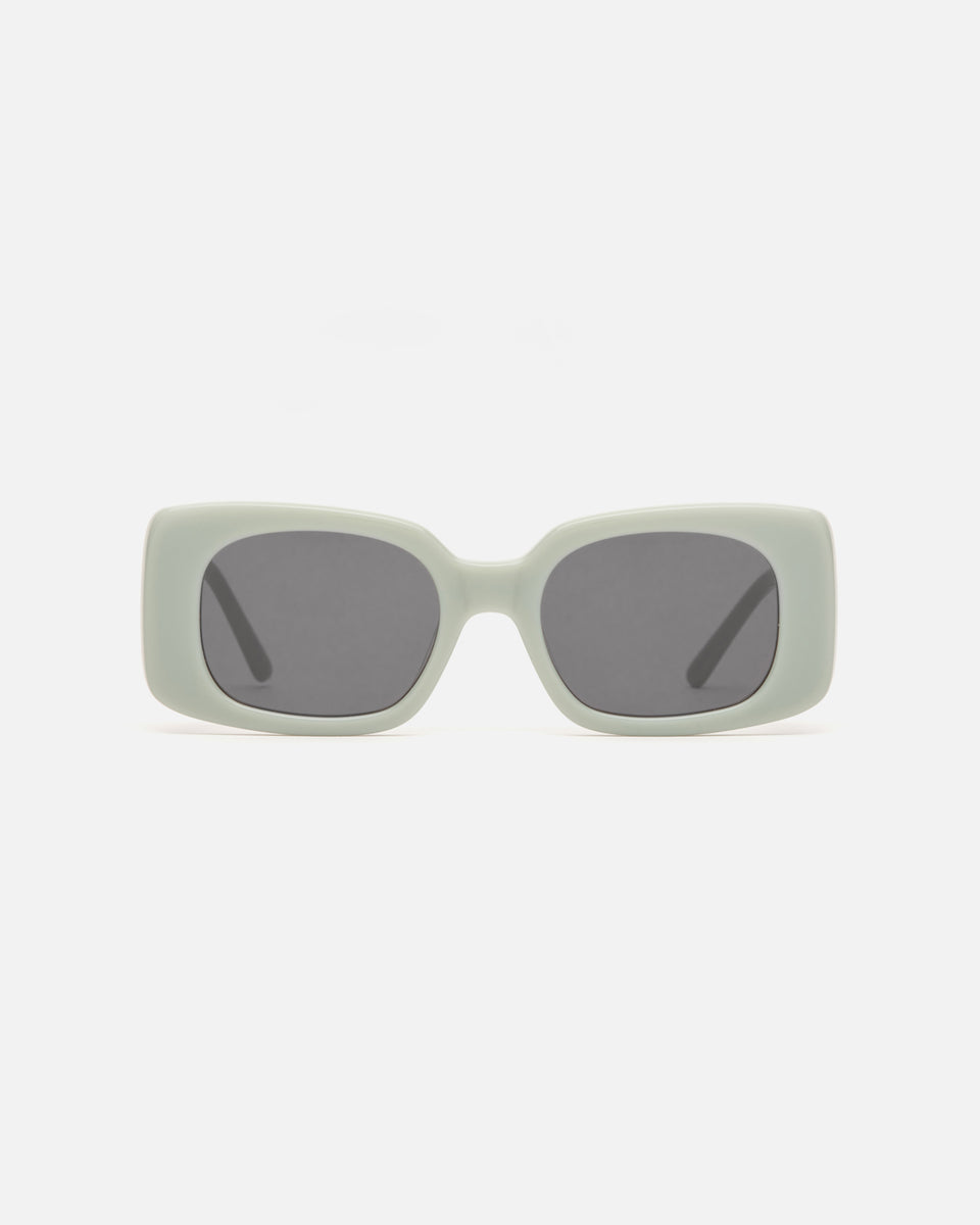 Lu Goldie Coco square Sunglasses in sage blue acetate with black lenses, front