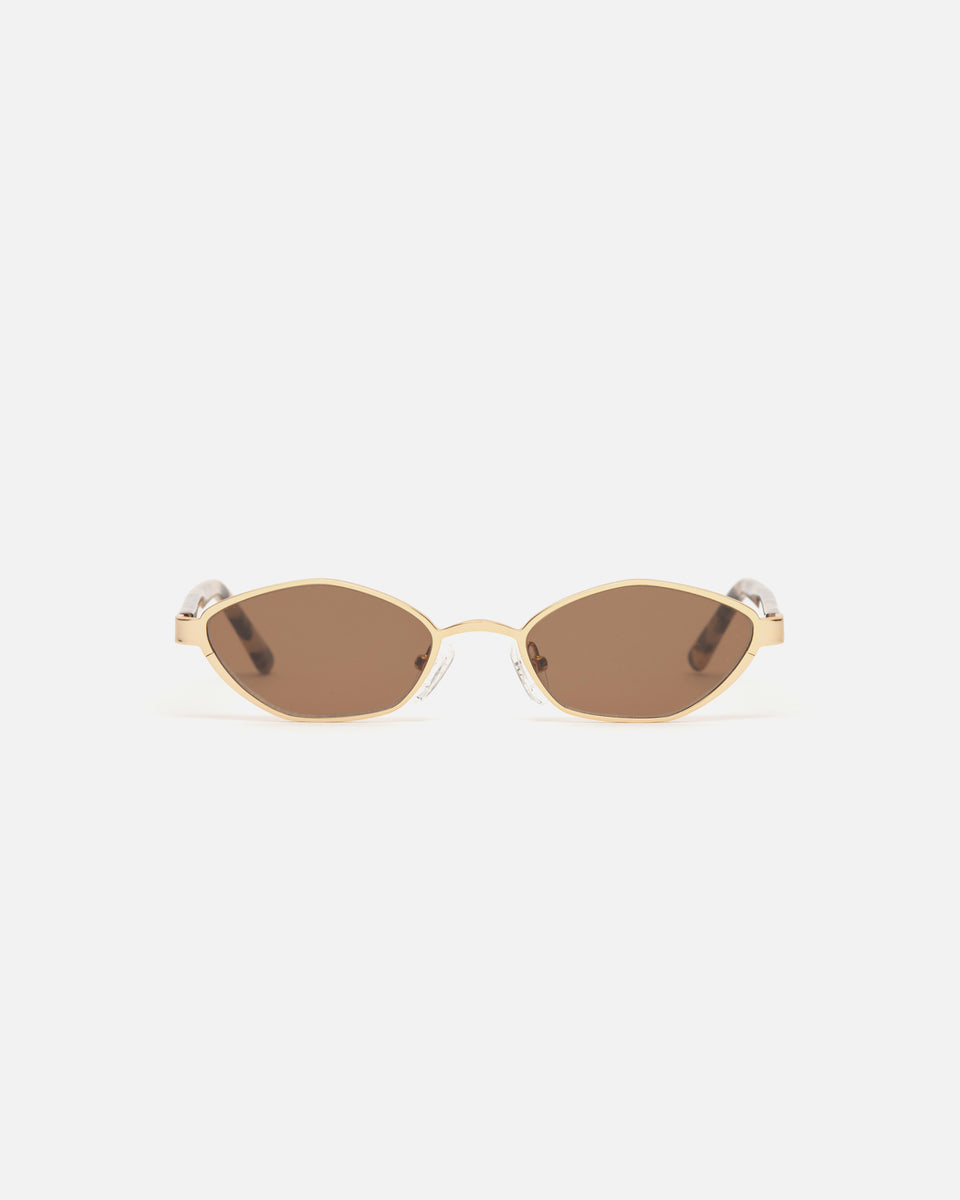 Lu Goldie Farrah Gold Wire Frame Round Sunglasses in Choc Tort brown, front image