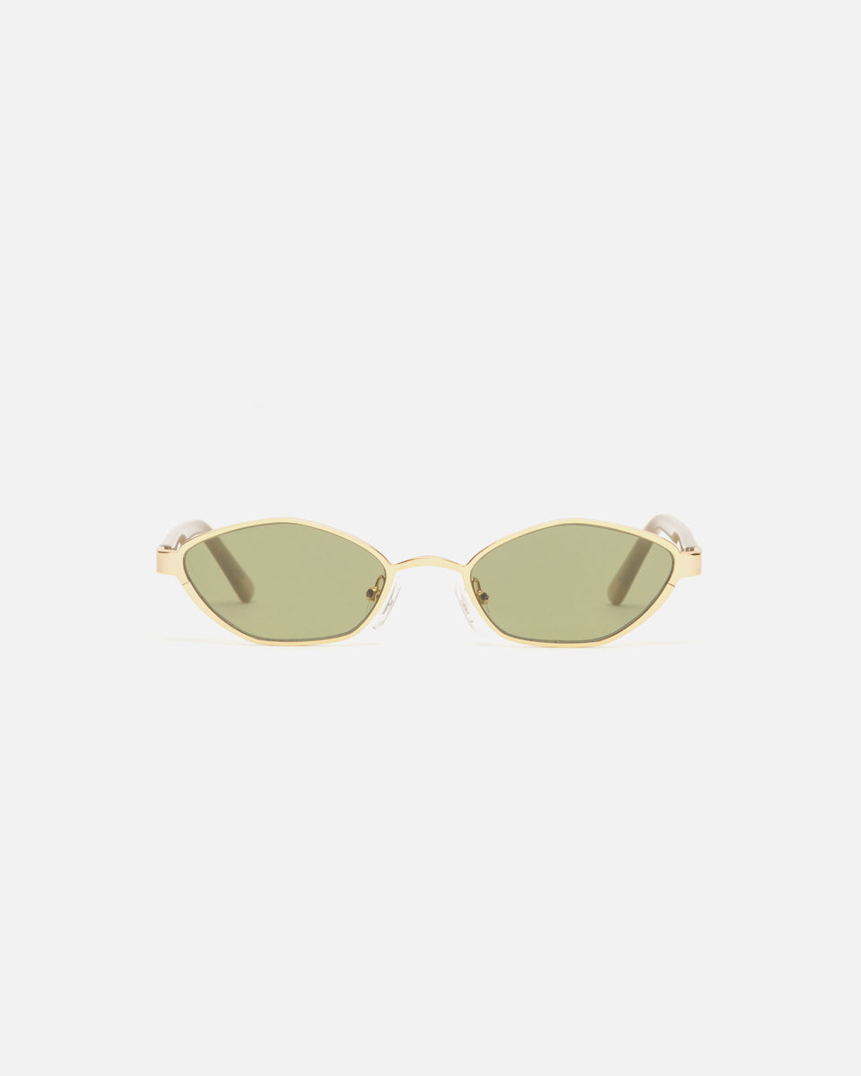 Lu Goldie Farrah Gold Wire Frame Round Sunglasses in Leaf green, front image