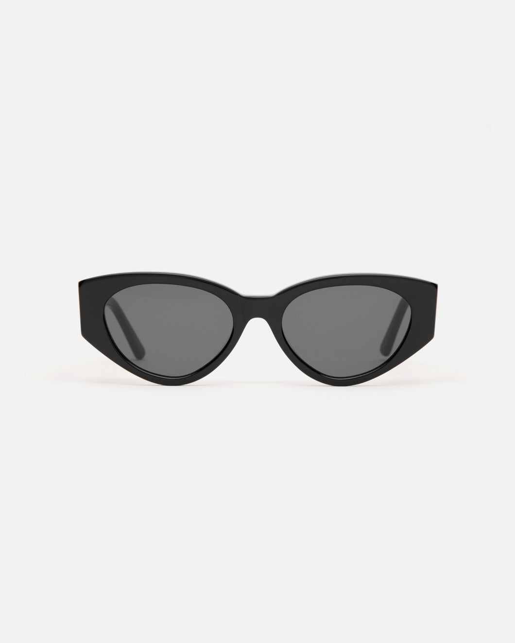 Lu Goldie Giselle oversize Sunglasses in black acetate with black lenses, front