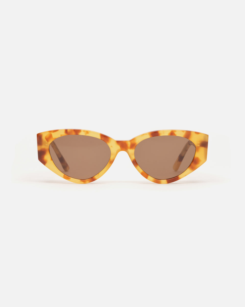 Lu Goldie Giselle oversize Sunglasses in yellow tortoise shell acetate with brown lenses, front