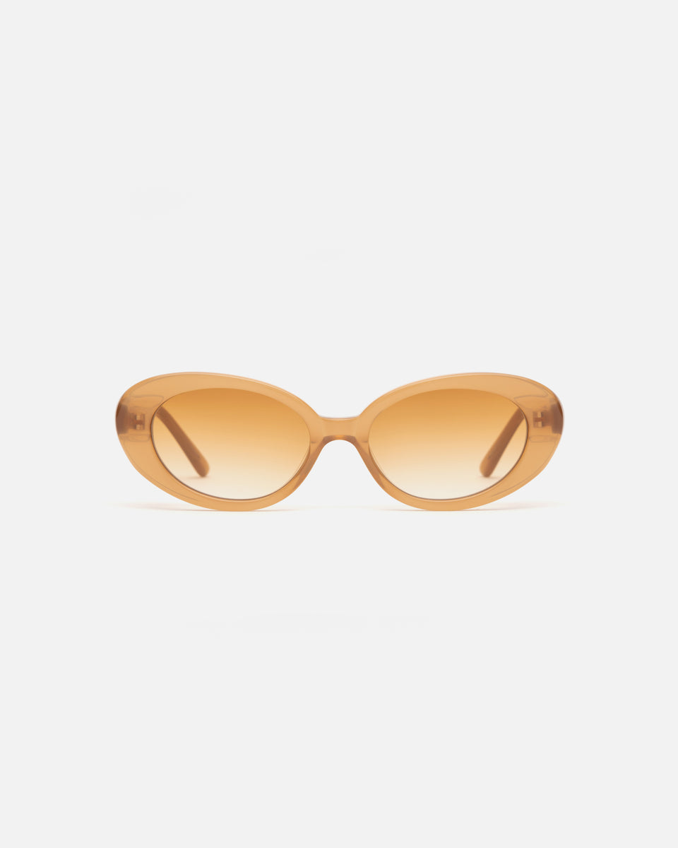 Lu Goldie Jeanne round Sunglasses in caramel beige acetate with caramel gradient lenses, front image