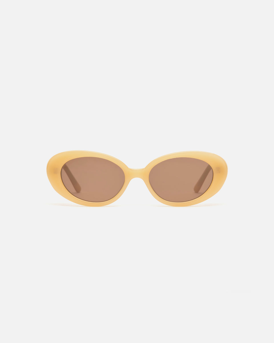 Lu Goldie Jeanne round Sunglasses in yellow acetate with brown lenses, front image