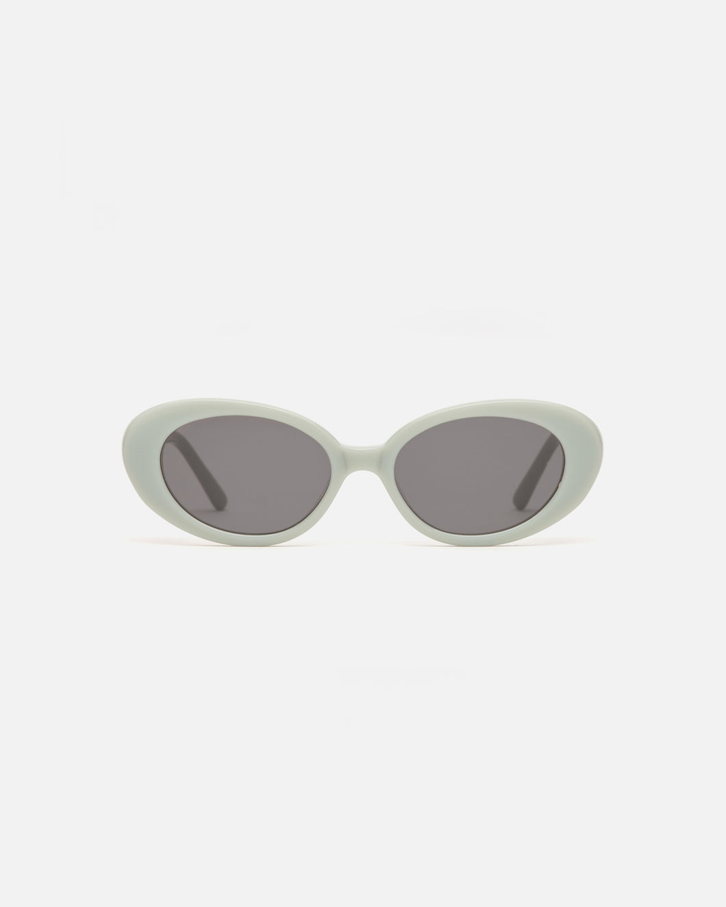Lu Goldie Jeanne round Sunglasses in sage blue acetate with black lenses, front image