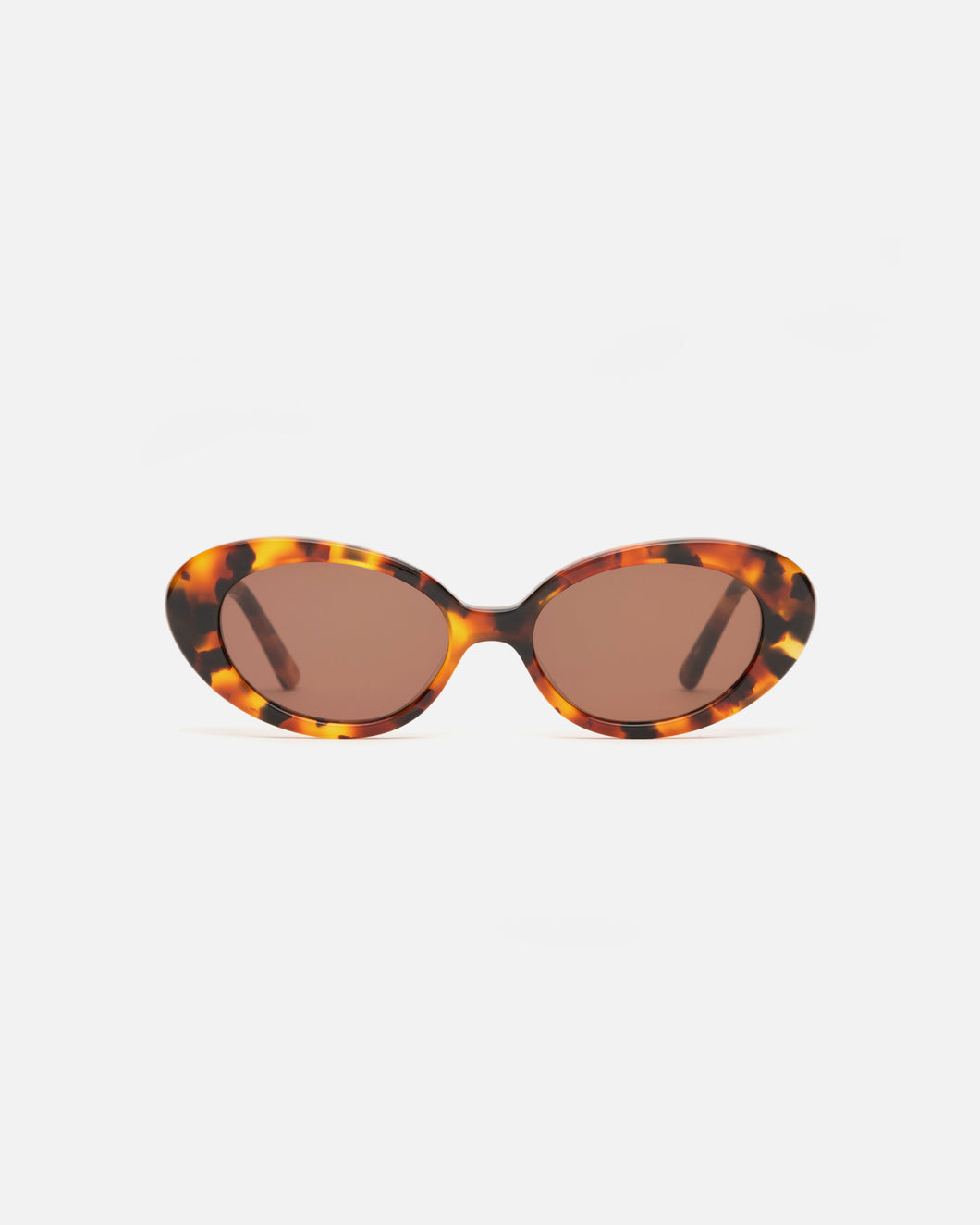 Lu Goldie Jeanne round Sunglasses in tortoise shell acetate with brown lenses, front