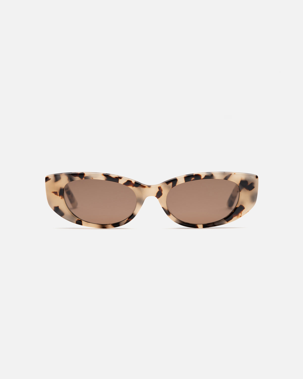 Lu Goldie Lotte semi cat eye Sunglasses in choc tortoise shell acetate with brown lenses, front