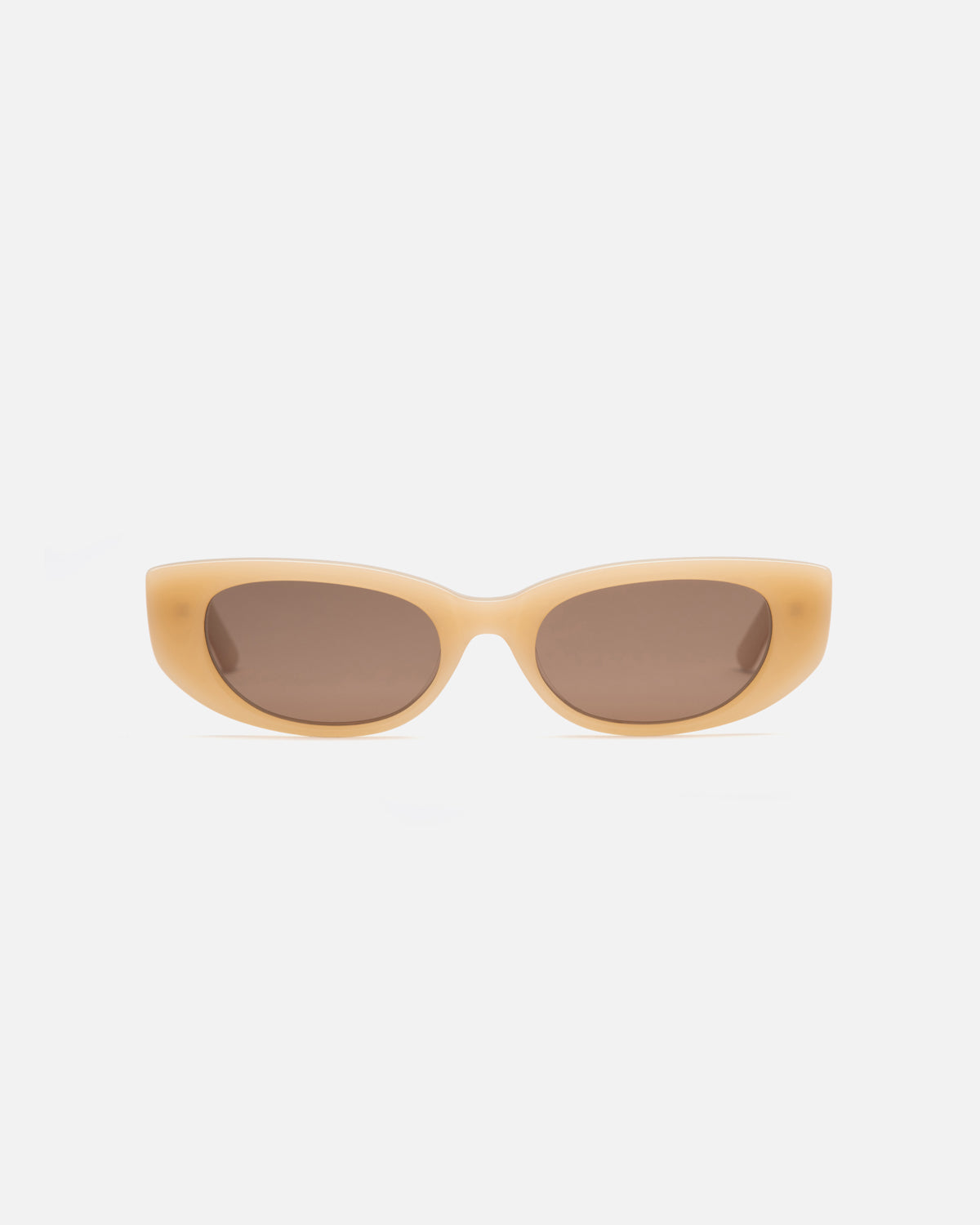 Lu Goldie Lotte semi cat eye Sunglasses in yellow acetate with brown lenses, front