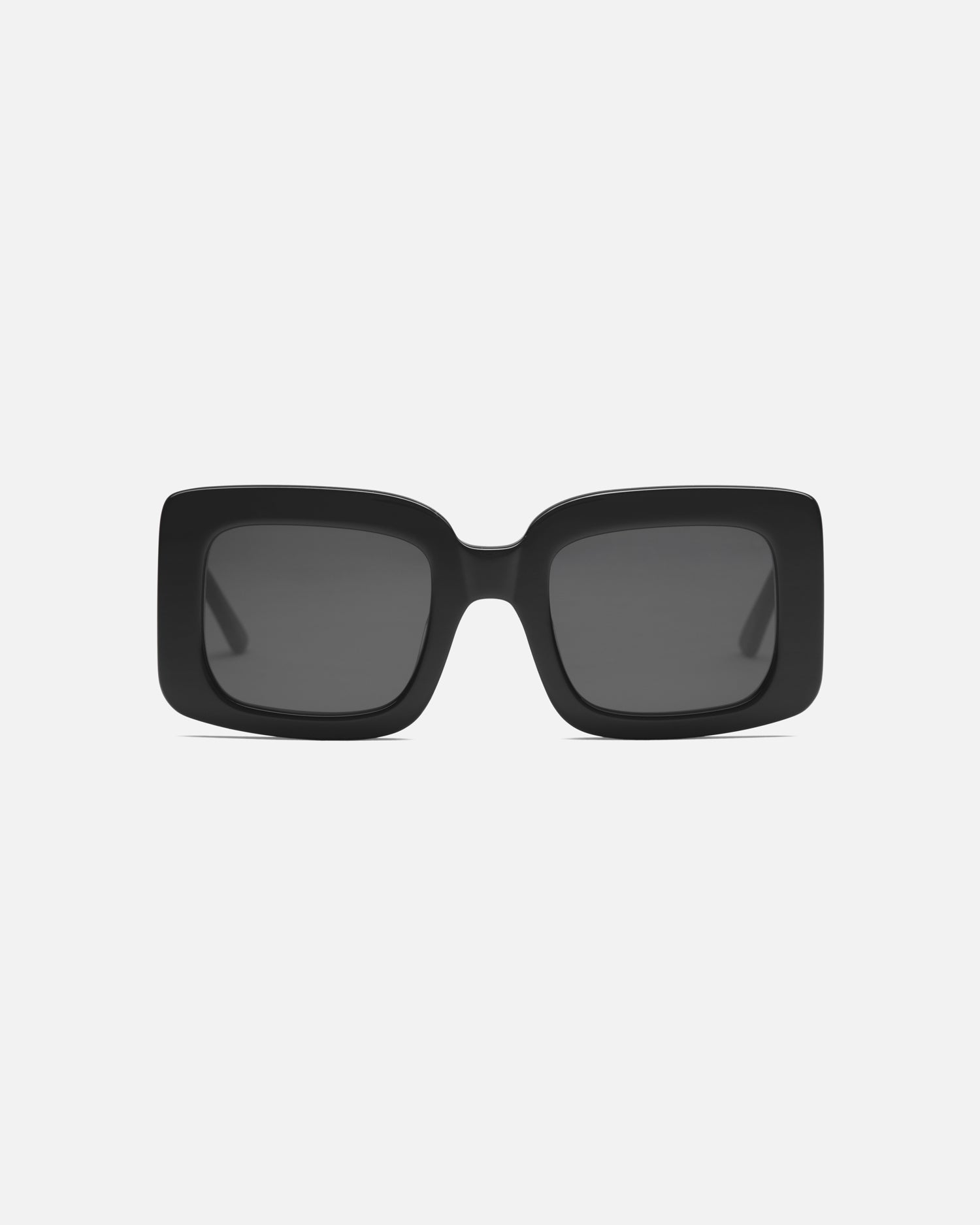 Lu Goldie Mia oversize square Sunglasses in black acetate with black lenses, front