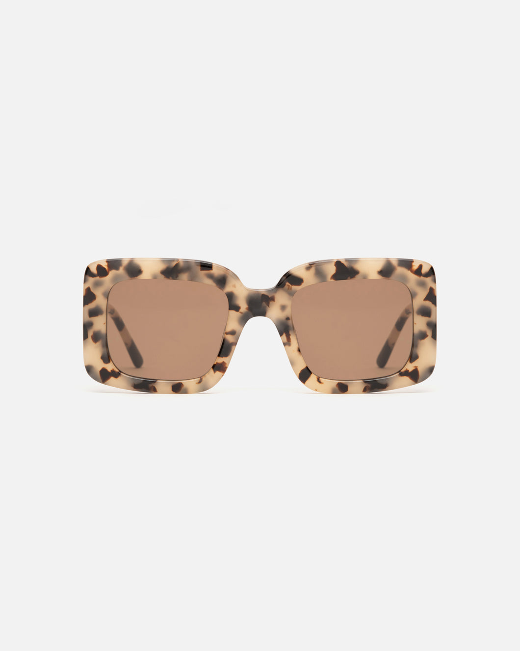 Lu Goldie Mia oversize square Sunglasses in brown tortoise shell acetate with brown lenses, front image