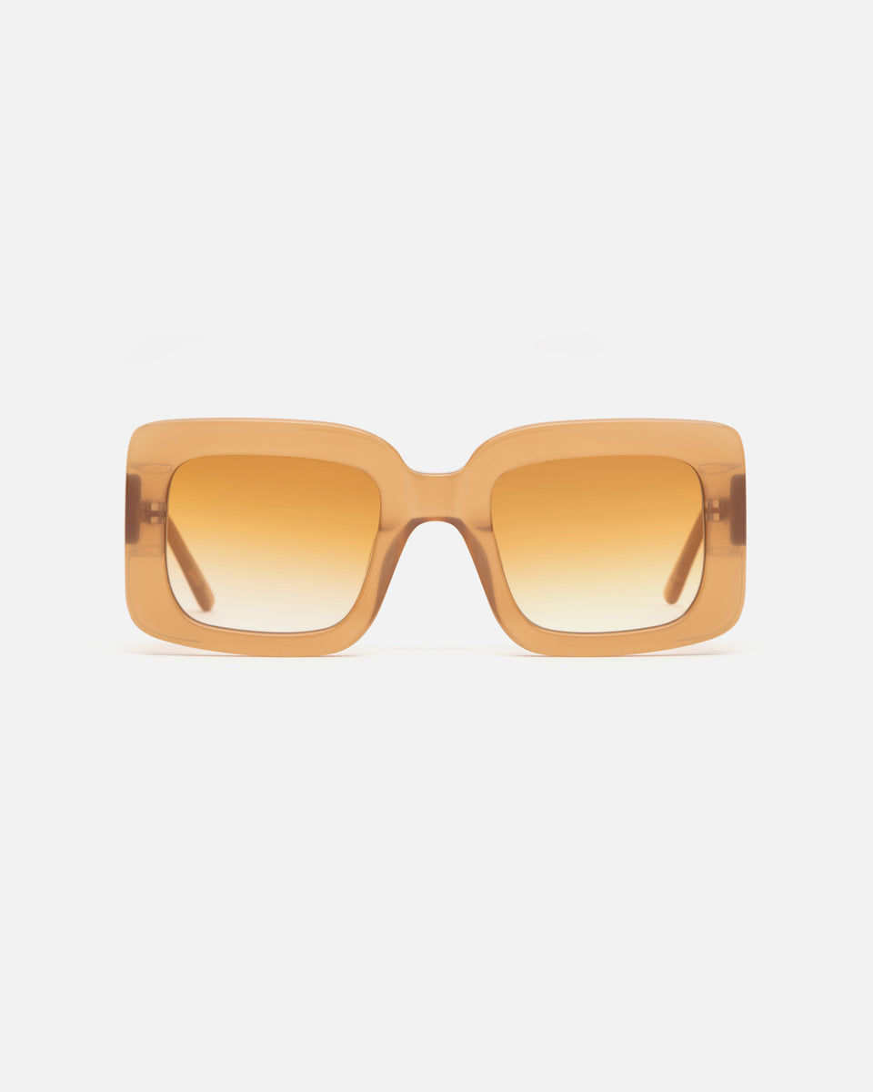 Lu Goldie Mia oversize square Sunglasses in brown beige acetate with caramel gradient lenses, front