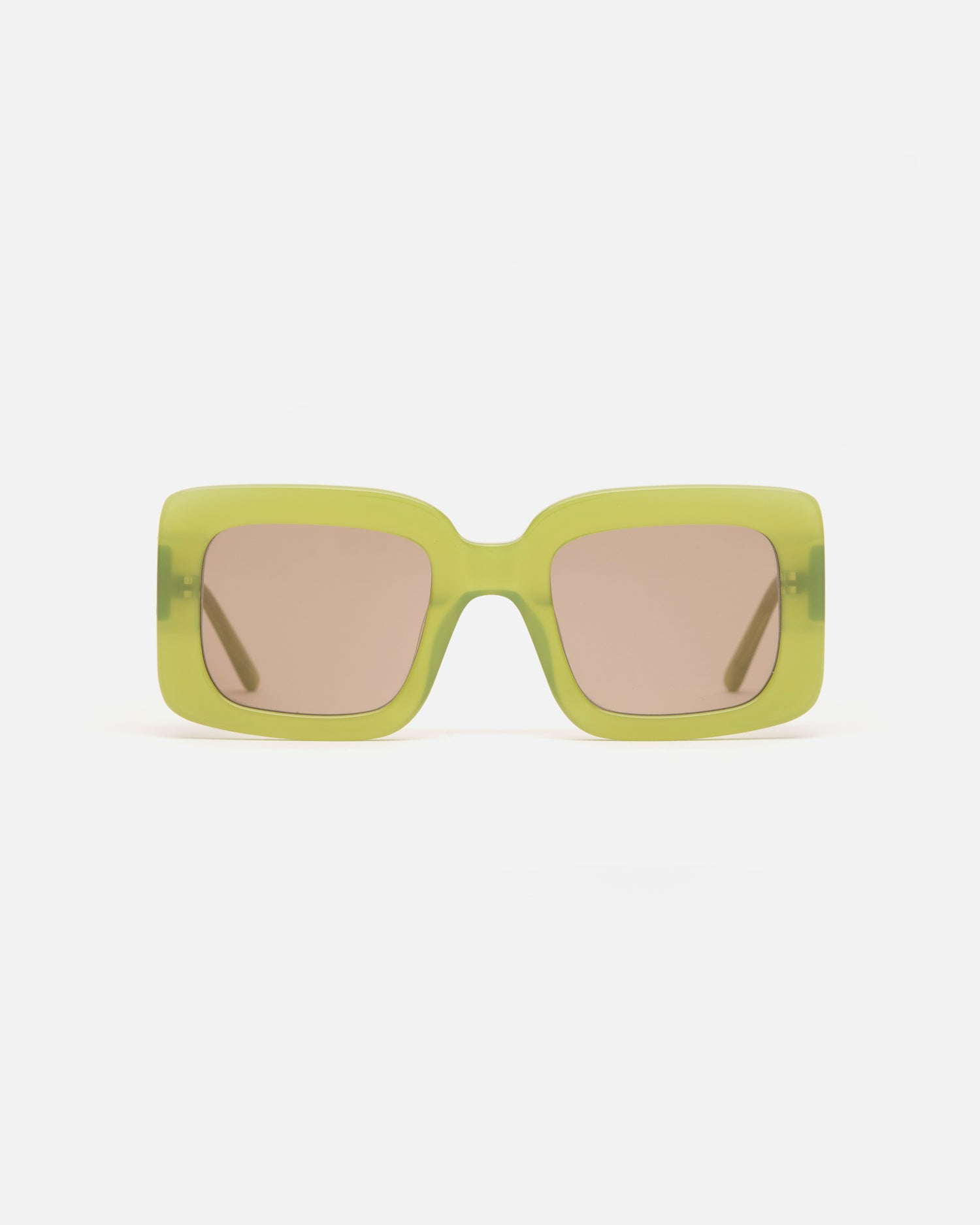 Lu Goldie Mia oversize square Sunglasses in leaf green acetate with tan brown lenses, front image