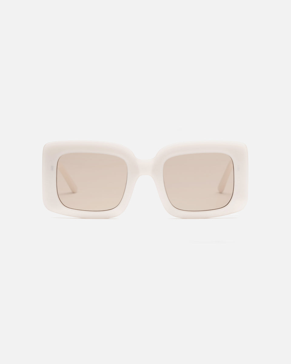 Lu Goldie Mia oversize square Sunglasses in cream white acetate with tan brown lenses, front