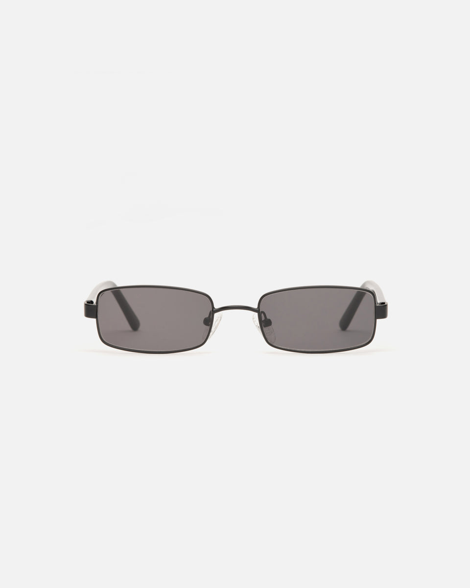 Lu Goldie Nina Wire Frame Rectangle Sunglasses in Black, front image
