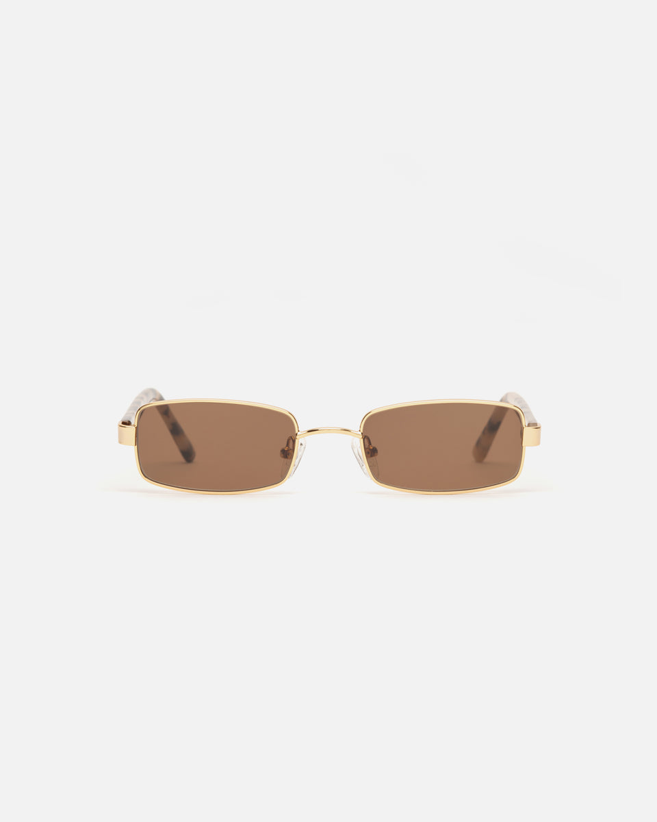 Lu Goldie Nina Gold Wire Frame Rectangle Sunglasses in Choc Tort Brown, front image