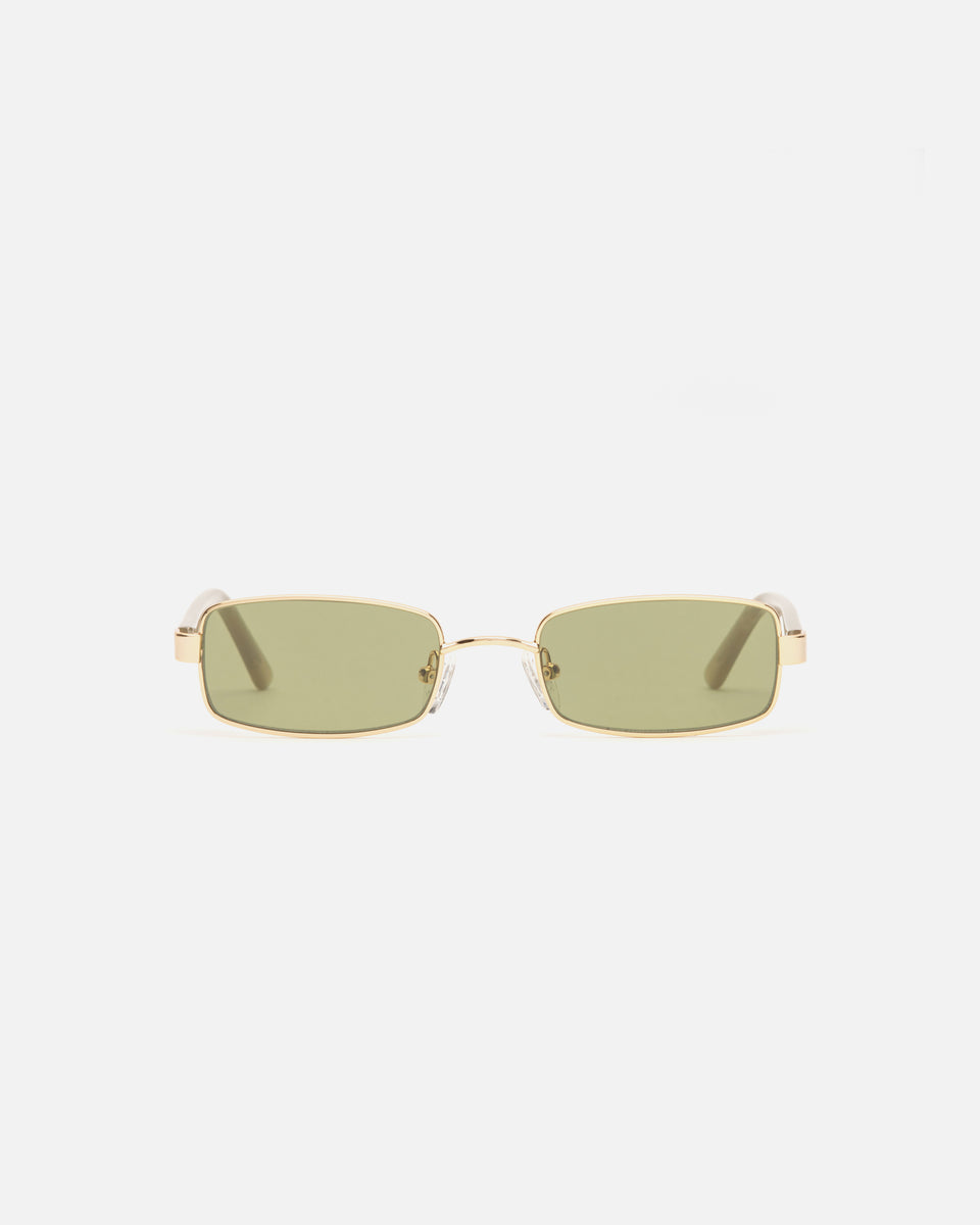 Lu Goldie Nina Gold Wire Frame Rectangle Sunglasses in Leaf Green, front image