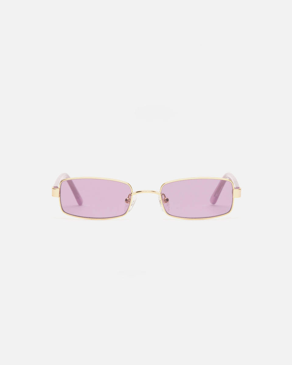 Lu Goldie Nina Gold Wire Frame Rectangle Sunglasses in Lilac purple, front image