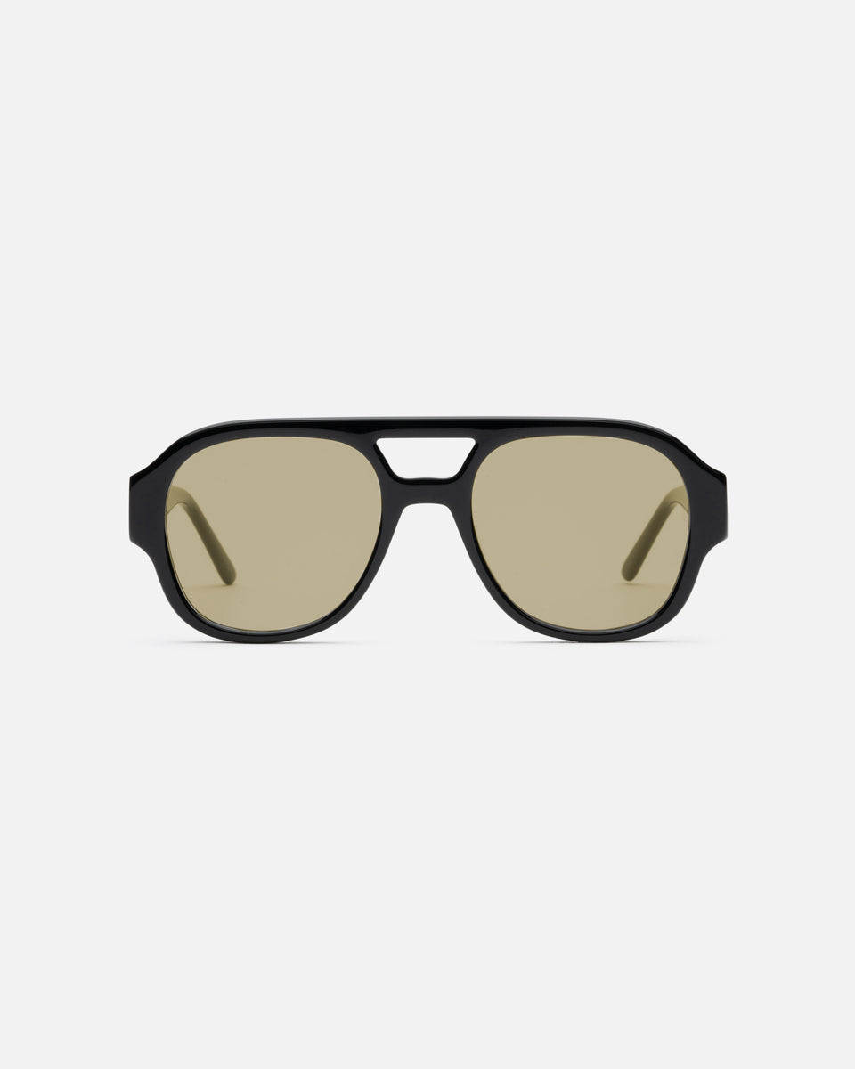 Lu Goldie x Ruby Tuesday Matthews collaboration sunglasses in Black and Olive lens, front image