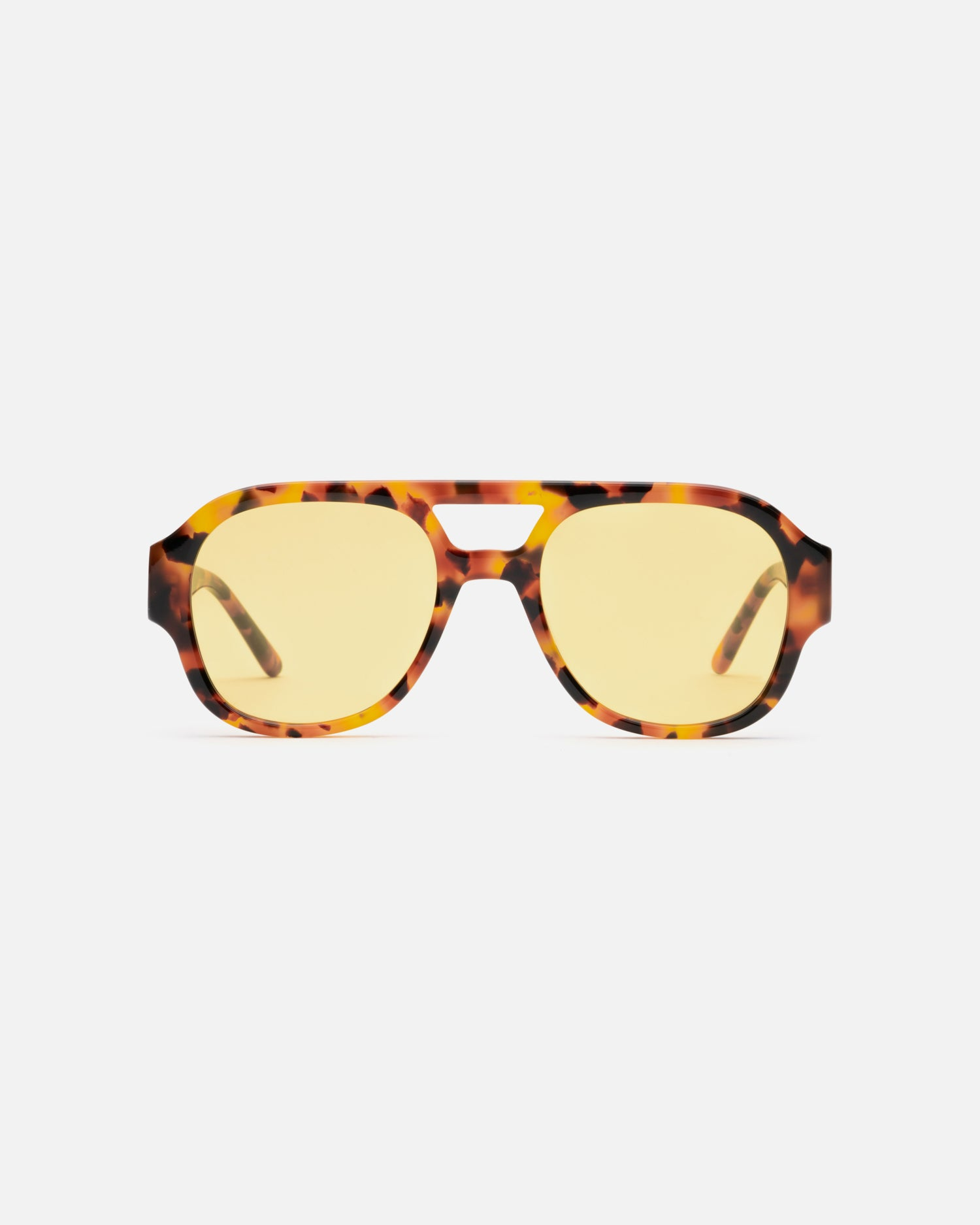 Lu Goldie x Ruby Tuesday Matthews collaboration sunglasses in Tortoise with yellow lens, front image